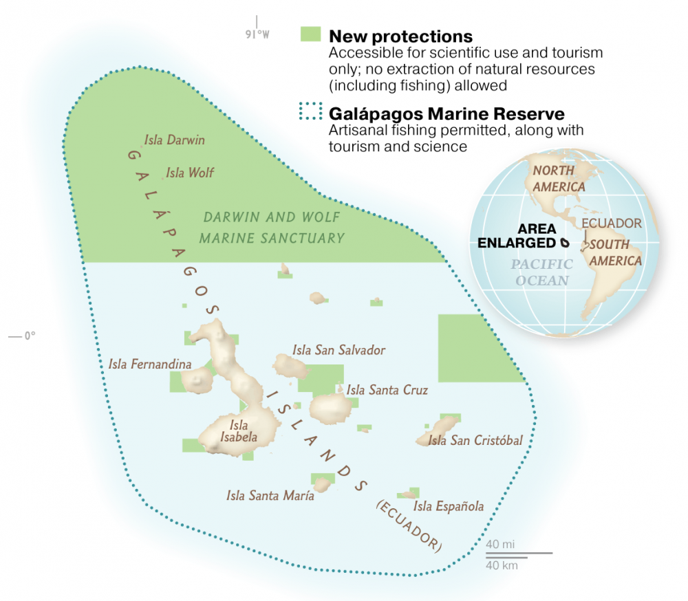 Galapagos Marine Reserve Map © Ministry of Environment