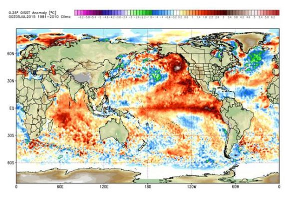 NOAA's SST maps — the red areas indicate the warmest SST. Most notably, the red area across the Pacific which was present in 1997 is also present now.