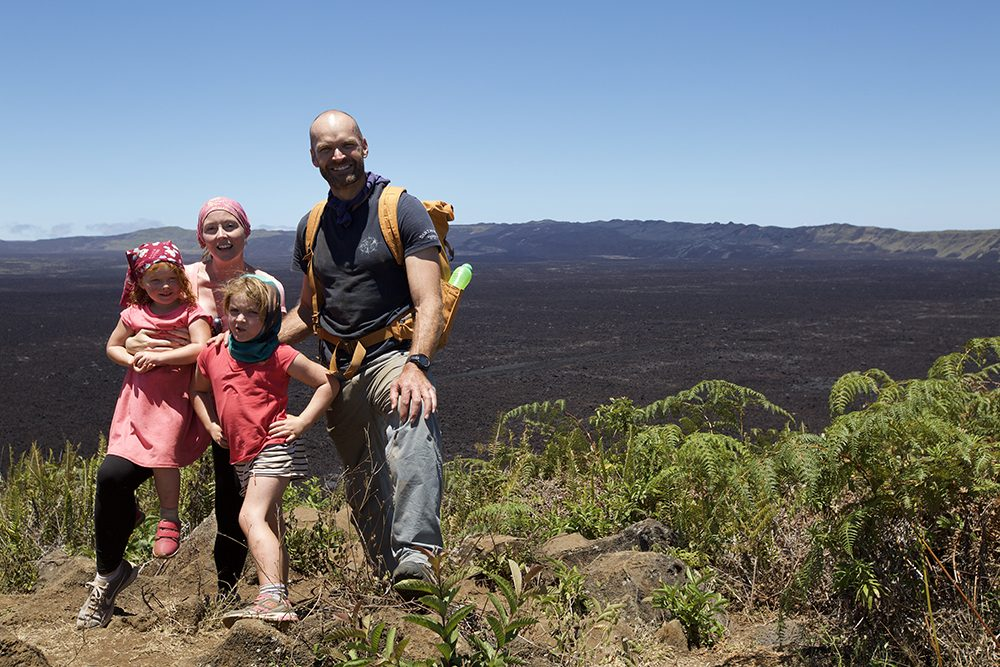 The Halls Family in front of Sierra Negra's caldera - the second largest volcanic crater in the world © Seadog TV & Film Productions
