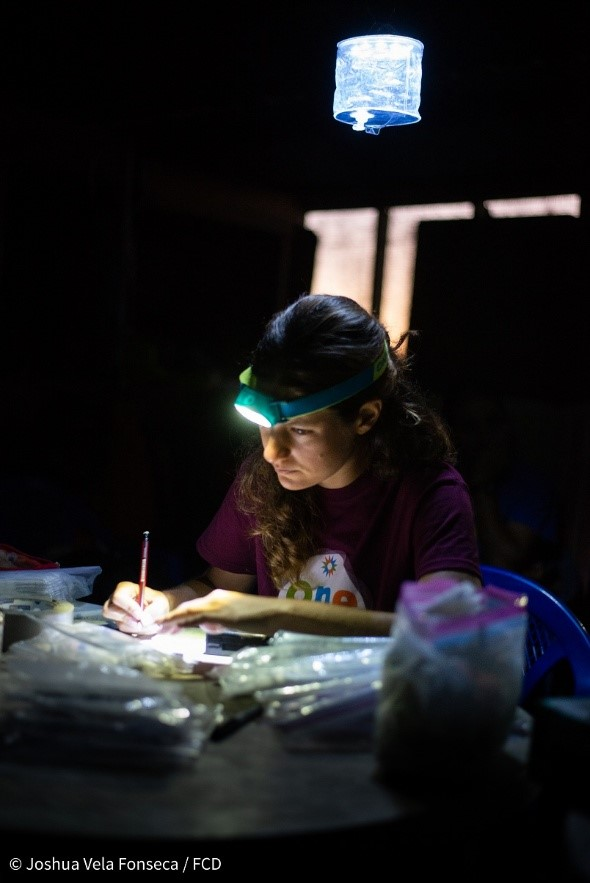 Dr. Nieto Claudin processing samples at night © Joshua Vela Fonseca